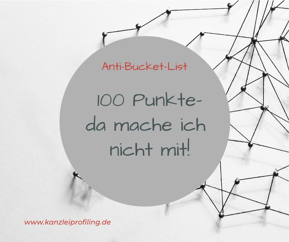Anti-Bucket-List 100 Punkte- da mache ich nicht mit