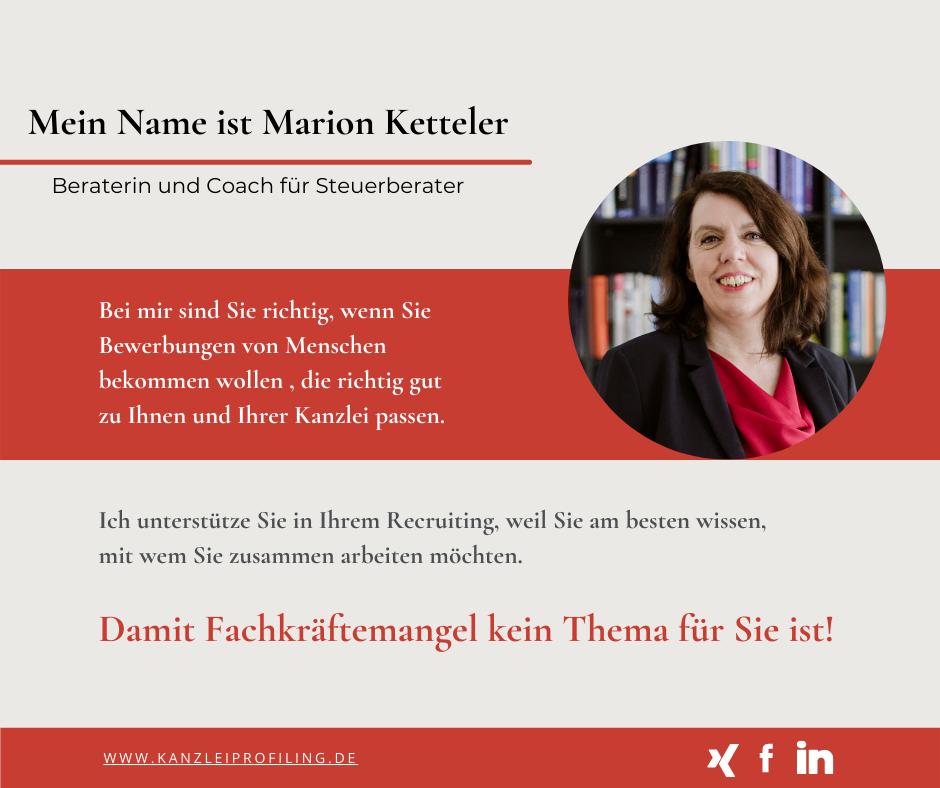 Mein Name ist Marion Ketteler Recruiting für Steuerberater Fachkräftemangel